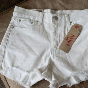 NEW Levi High Waisted White Denim Shorts